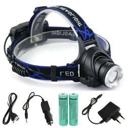 LED Headlamp Waterproof Zoom Fishing Headlights Camping Hiki
