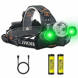 BESTSUN LED Hunting Headlamp with Green Light, USB Rechargea