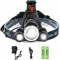 Led Rechargeable Headlamp, Genwiss 6000 Lumens Head Lamp, 3