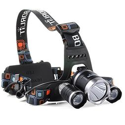 BESTSUN Ultra Bright 5000 Lumens LED HeadLamp 4 Modes 3 x T6