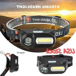 Mini COB XPE LED Headlight USB Rechargeable 6Modes Headlamp