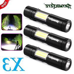 3-pack Mini LED Flashlight CREE Xpe-R3 T6 + COB with 4 Modes