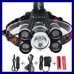 NEWEST & BEST Version Waterproof Headlamp 12000 Lumen 5 Led