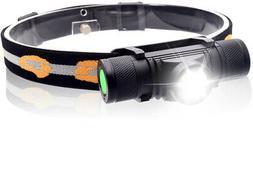 PowerKing Waterproof USB Rechargeable Hardhats LED Headlamp