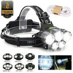 Rechargeable 350000LM 5X T6 LED Super Bright Headlamp Headli