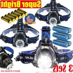 Rechargeable 350000Lumen  LED Zoom Headlamp USB Headlight He