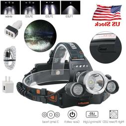 Rechargeable 3xXM-L T6 LED Headlamp Micro USB Headlight  Tor