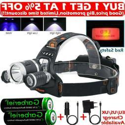 Rechargeable 900000LMS 3 X T6 LED Headlamp Headlight Flashli