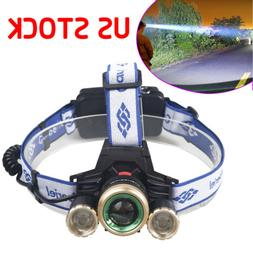 Rechargeable 900000LMS 3X T6 LED Headlamp Flashlight Zoom He