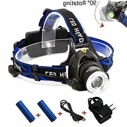 EOTO LIGHT Rechargeable Headlamp,1800 Lumens Zoomable Waterp
