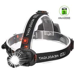 CrazyFire Rechargeable Headlamp, Super Bright 3000mAh Headli