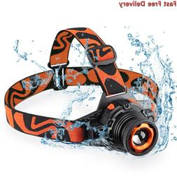 Rechargeable Headlamp CREE LED, Zoomable Flashlight,Head Lig