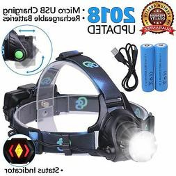 Rechargeable Headlamp, Hard Hat Light - Head Lamps for Adult
