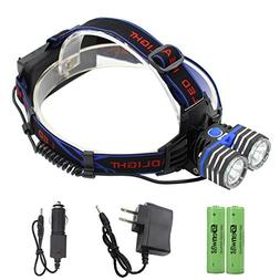 Rechargeable LED Headlamp - Genwiss Head Lamp 2000 Lumen XM-