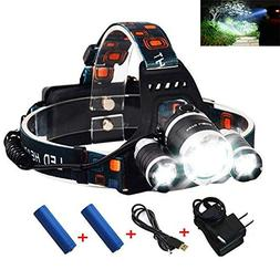 Rechargeable Headlamp, Bright Waterproof LED Headlight Flash
