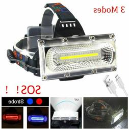 Rechargeable LED Headlamp COB High Bright Head light Waterpr