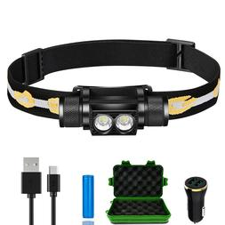 Rechargeable LED Headlamp Durable Waterproof Headlight Hard