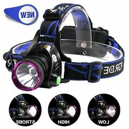 GRDE Rechargeable Led Headlamp Headlight Flashlight 3 Modes
