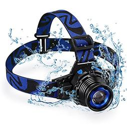 Rechargeable LED Headlamp, Super Bright Waterproof Zoomable