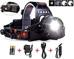 LIGHTESS LED Head Lamps Waterproof Headlamps Zoomable Head L