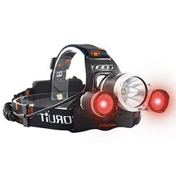 Boruit Red+White Lighting Headlamp 3Pcs Led Bulbs Cree T6+2R