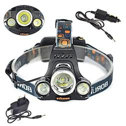Boruit RJ-3000 6000LM 3x XM-L T6 LED Headlamp Flashlight Hea