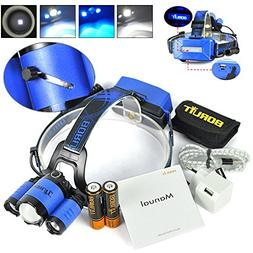 BORUIT RJ5000 Plus B22 Rechargeable Zoom XM-L2+2X XPE BLUE L