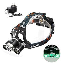 BESTSUN Ultra Bright Tactical Headlamps Green LED Hunting Fl