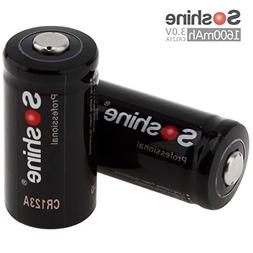 Soshine 2 Pack CR123A Lithium 3V 1600mAh Batteries, Lithium