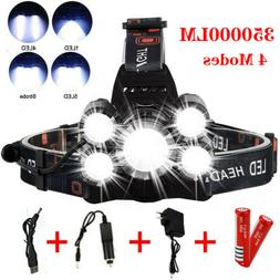 Super-bright 350000LM 5 X T6 LED Headlamp Headlight Flashlig