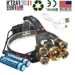 Super-bright 99000LM 5 X T6 LED Headlamp Headlight Flashligh