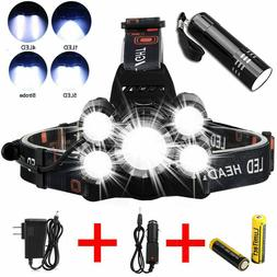 Super-bright 90000LM 5 X XM-L T6 LED Headlamp Headlight Flas
