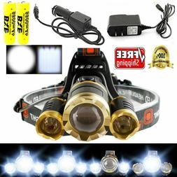 Super Bright Headlamps 30000 Lumen 3x LED T6 18650 Headlamp