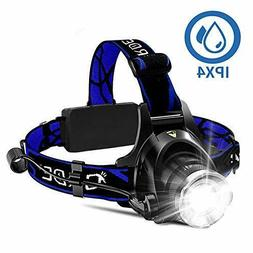 GRDE Super Bright LED Headlamp 18650 USB Rechargeable IPX4 W