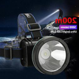 Super Bright LED Headlamp Rechargeable Headlight Torch 5000