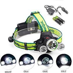 Super Bright T6 LED Headlamp 2000 Lumen Zoomable Adjustable