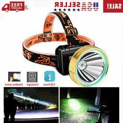 Super Bright Waterproof Head Torch/Headlight LED USB Recharg