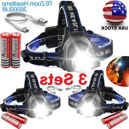 90000LM T6 LED Zoomable Headlamp Headlight Lamp Torch With 1