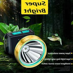 Super Bright Waterproof Head Torch Headlight LED USB Recharg