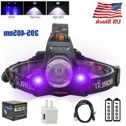 9000lm Tactical 3xXM-L T6+2R5 UV LED Rechargeable Headlamp H