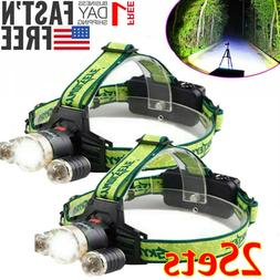 Tactical 90000LM 3X T6 LED Zoomable Headlamp Headlight Flash