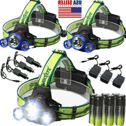 Skywolfeye Tactical 90000LMs Headlamp T6 3x LED Head light +