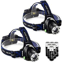 2Pcs Tactical Headlight Head Lamp Waterproof Military Grade
