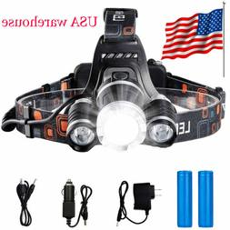USA Stock Led Headlight Headlamp Flashlight Head Camping Hik