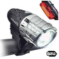 Apace Vision USB Rechargeable Bike Light Set - Powerful 300