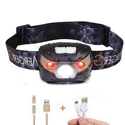 MergerGo USB Rechargeable LED Headlamp,Ultra Lightweight Com