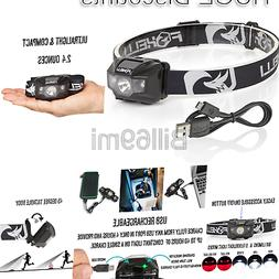 Foxelli USB Rechargeable Headlamp Flashlight - 180 Lumen, up