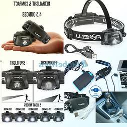 Foxelli USB Rechargeable Headlamp Flashlight – 280 Lumen,