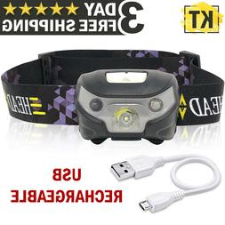 USB Rechargeable Headlamp Flashlight Hands Free Head Band Ou