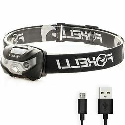 Foxelli USB Rechargeable Headlamp Flashlight - Up to 30 Hour